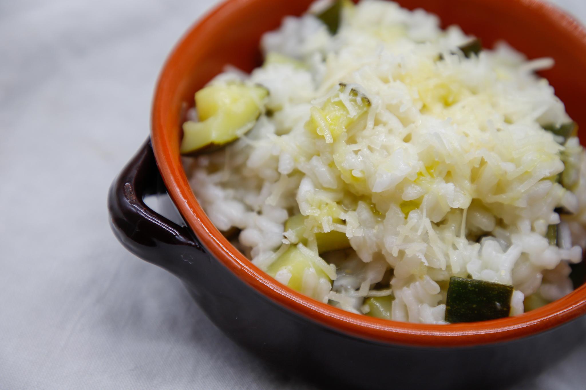 risotto, risotto alle zucchine, riso, riso fatto in casa, riso senza burro